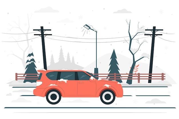 Ilustração do conceito de estrada de inverno