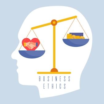 Ilustração do conceito de ética empresarial com equilíbrio