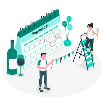 Ilustração do conceito de eventos