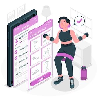 Ilustração do conceito de exercícios personalizados