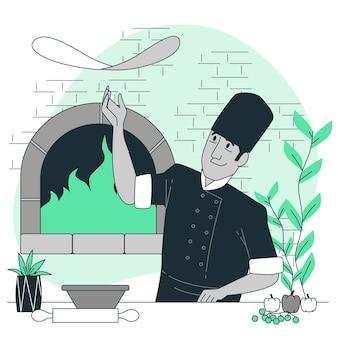 Ilustração do conceito de fabricante de pizza