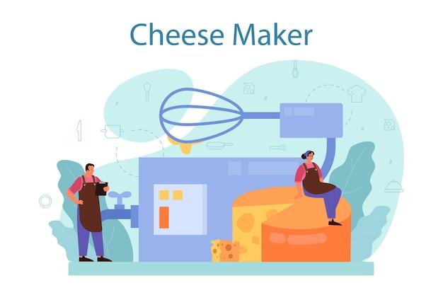 Ilustração do conceito de fabricante de queijos