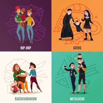 Ilustração do conceito de família dos desenhos animados de subculturas