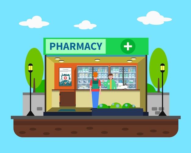 Ilustração do conceito de farmácia