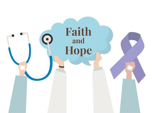 Ilustração do conceito de fé e esperança
