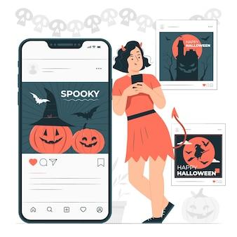 Ilustração do conceito de feed do instagram para halloween