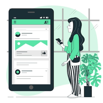 Ilustração do conceito de feed móvel