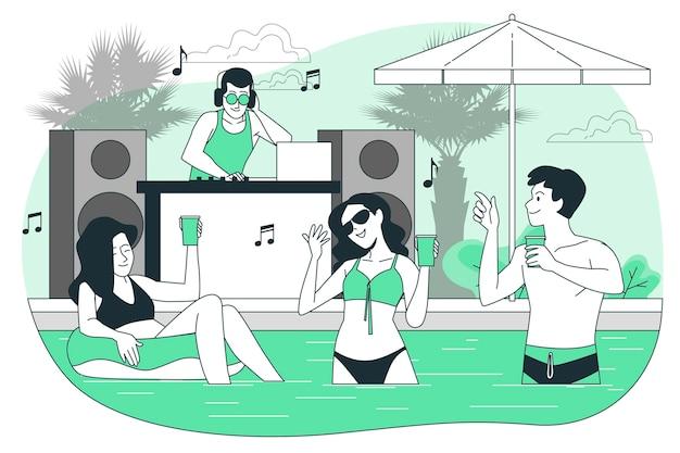 Ilustração do conceito de festa em traje de banho