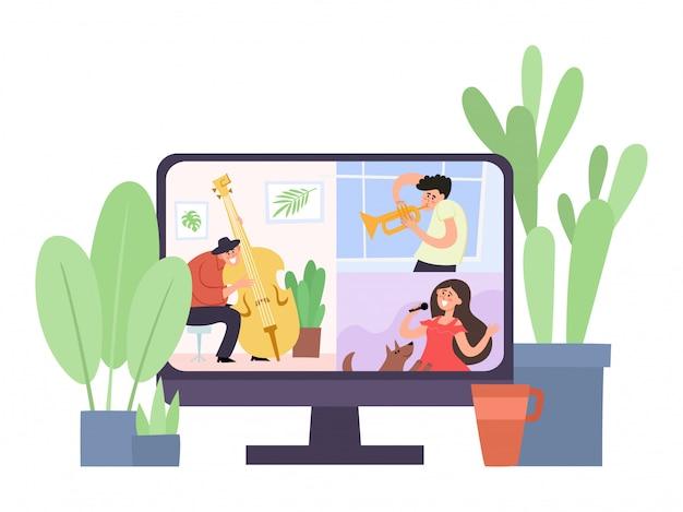 Ilustração do conceito de festa on-line, homem com gravador e mulher dançando e ouvindo música juntos em auto-isolamento.