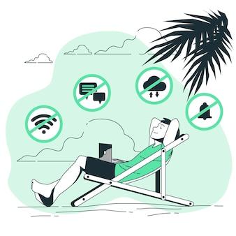 Ilustração do conceito de ficar offline