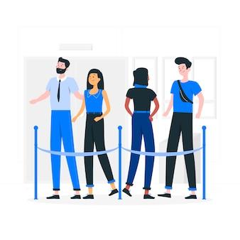 Ilustração do conceito de fila