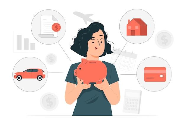 Ilustração do conceito de finanças pessoais
