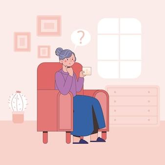 Ilustração do conceito de flat alzheimer