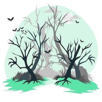 Ilustração do conceito de floresta assombrada