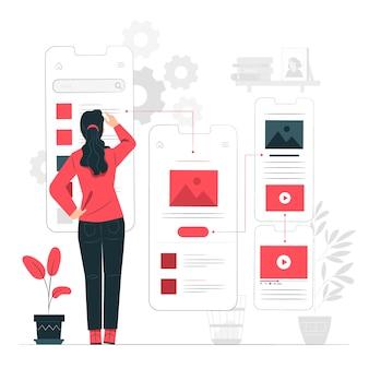 Ilustração do conceito de fluxo do usuário