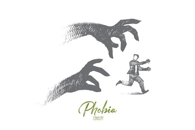 Ilustração do conceito de fobia
