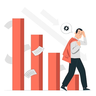 Ilustração do conceito de fracasso empresarial