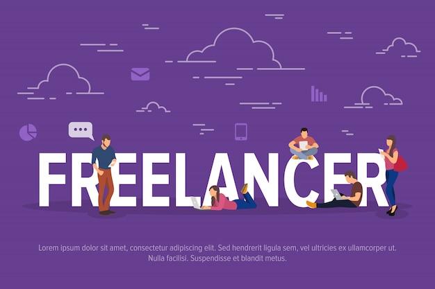 Ilustração do conceito de freelancer. pessoas de negócios usando dispositivos para trabalho remoto e crescimento profissional.