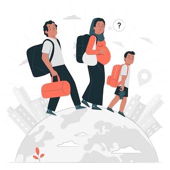 Ilustração do conceito de fuga de sua pátria