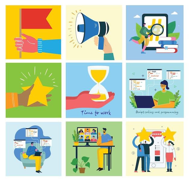 Ilustração do conceito de fundos de design de trabalho em equipe
