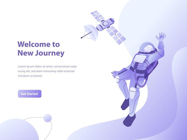 Ilustração do conceito de galáxia, espaço e astronauta para página de destino