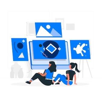 Ilustração do conceito de galeria online