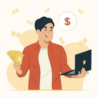 Ilustração do conceito de ganhar dinheiro