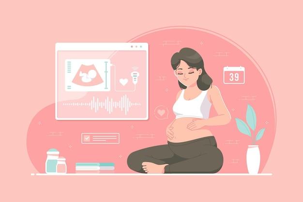 Ilustração do conceito de garota grávida de verificação de usg