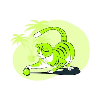 Ilustração do conceito de gato brincalhão