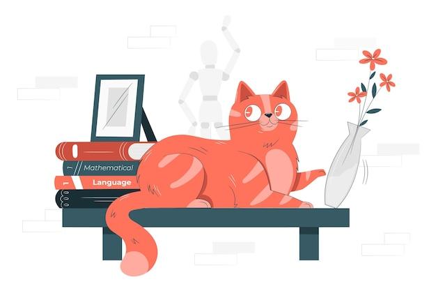 Ilustração do conceito de gato jogando um vaso