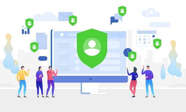 Ilustração do conceito de gdpr. dados protegem. regulamento geral de proteção de dados.
