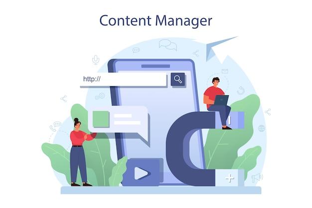 Ilustração do conceito de gerenciamento de conteúdo