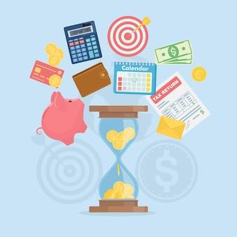 Ilustração do conceito de gerenciamento de tempo como tempo é dinheiro