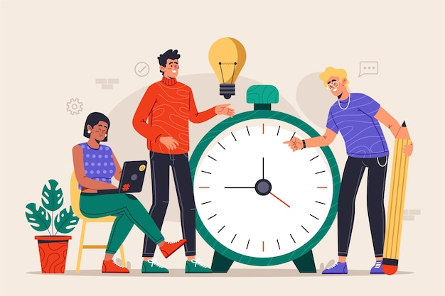 Ilustração do conceito de gerenciamento de tempo desenhada à mão