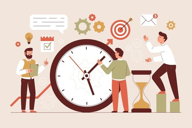 Ilustração do conceito de gerenciamento de tempo plano