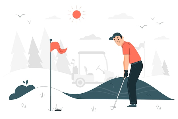 Ilustração do conceito de golfe
