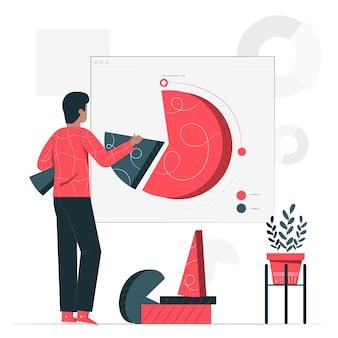 Ilustração do conceito de gráfico de pizza