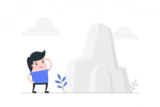 Ilustração do conceito de grande obstáculo.
