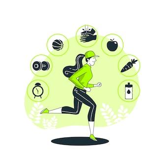 Ilustração do conceito de hábito saudável