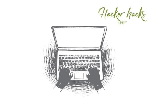 Ilustração do conceito de hack do hacker