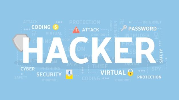 Ilustração do conceito de hacker. ideia de crime cibernético.