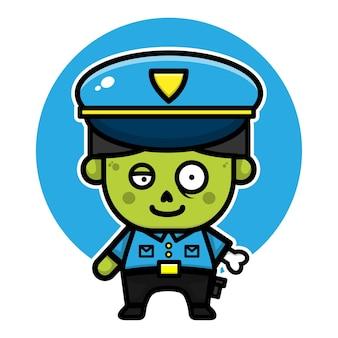 Ilustração do conceito de halloween do personagem de desenho animado de zumbi policial fofo