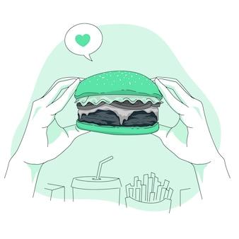 Ilustração do conceito de hambúrguer
