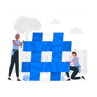 Ilustração do conceito de hashtag de construção