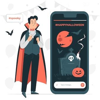 Ilustração do conceito de hashtags de halloween