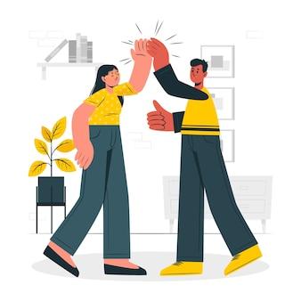 Ilustração do conceito de high five