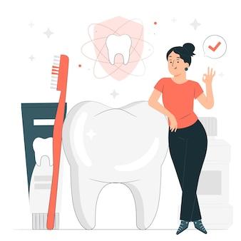 Ilustração do conceito de higiene bucal