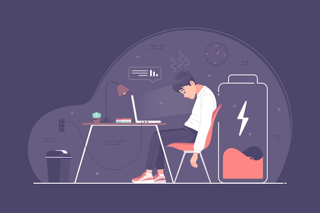 Ilustração do conceito de homem de negócios cansado com excesso de trabalho