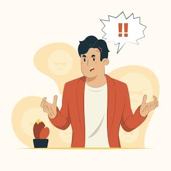 Ilustração do conceito de homem sentindo raiva