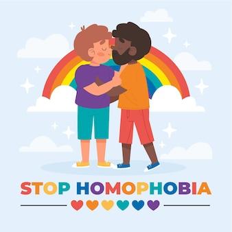 Ilustração do conceito de homofobia de parada desenhada à mão